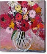 Flowers In A Glass Vase Canvas Print