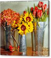 Flowers In Cans Canvas Print