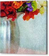 Flowers In Metal Pitcher Canvas Print