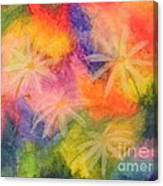 Flowers On Color Canvas Print
