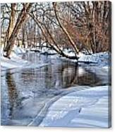 Flowing Water In The Winter Canvas Print