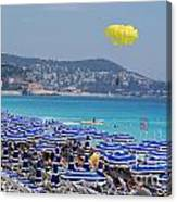 Flying Over The Nice Beach Canvas Print