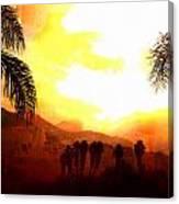 Foggy Palms Canvas Print