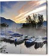 Foggy Port In Sunrise Canvas Print