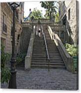 Foreshortening Of Montmartre With Street Lamp And Staircase Canvas Print
