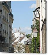 Foreshortening Of Paris With Windmill Sails Canvas Print
