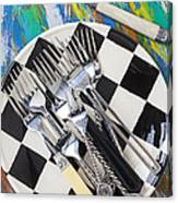 Forks On Checker Plate Canvas Print