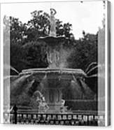 Forsyth Park Fountain - Black And White Canvas Print