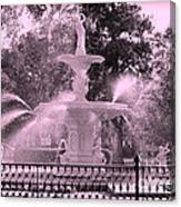 Forsyth Park Fountain In Pink Canvas Print