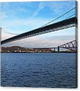 Forth Road Bridge And Forth Rail Bridge Canvas Print