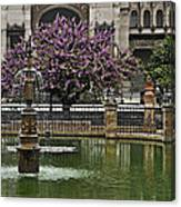 Fountain And Tree Canvas Print