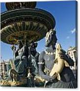 Fountain At Place De La Concorde. Paris. France Canvas Print