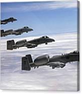 Four A-10 Thunderbolt IIs Fly Canvas Print