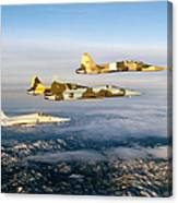Four F-5 Tiger IIs Fly Above Southern Canvas Print