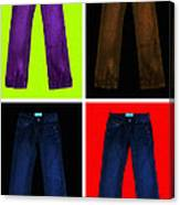Four Pairs Of Blue Jeans - Painterly Canvas Print