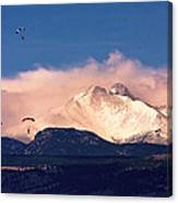 Four Skydivers With Longs Peak And Mount Meeker Rocky Mountain H Canvas Print