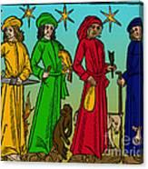 Four Temperaments, Medieval Woodcut Canvas Print
