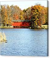 Fowler Lake And Covered Bridge Canvas Print