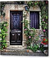 Framed In Flowers Dordogne France Canvas Print