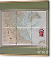 Framed Plymouth Bay With Lighthouse Tile Set Canvas Print