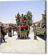 Free Libyan Army Troops Pose Canvas Print