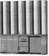 Freight Car And Grain Elevators Canvas Print