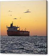 Freight Tanker At Sea - Sunset In Port Aransas Canvas Print