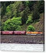 Freight Train Traveling Up The Gorge Canvas Print