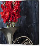 French Horn With Gladiolus Canvas Print