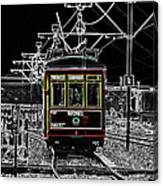 French Quarter French Market Cable Car New Orleans Color Splash Black And White With Glowing Edges Canvas Print
