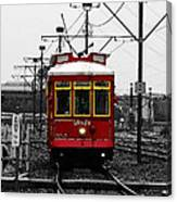 French Quarter French Market Cable Car New Orleans Color Splash Black And White With Watercolor Canvas Print