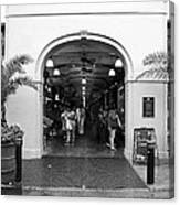 French Quarter French Market Entrance New Orleans Black And White Canvas Print