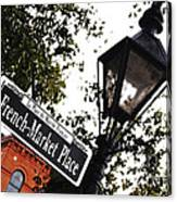 French Quarter French Market Street Sign New Orleans Diffuse Glow Digital Art Canvas Print