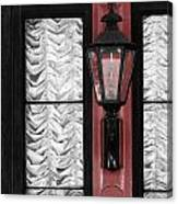 French Quarter Gas Lamp With Red Canvas Print