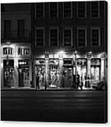 French Quarter Shopping At Night - Black And White Canvas Print