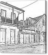 French Quarter Tavern Architecture New Orleans Black And White Photocopy Digital Art Canvas Print