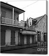 French Quarter Tavern Architecture New Orleans Black And White Canvas Print