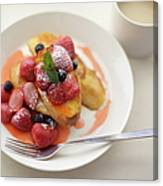 French Toast And Strawberries Source Canvas Print