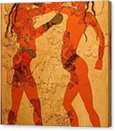 Fresco Of Boxing Children Canvas Print