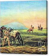 Frontiersmen And Native American Canvas Print