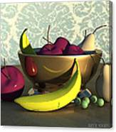 Fruit Bowl With Bananas Canvas Print