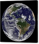 Full Earth Showing Two Tropical Storms Canvas Print