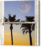 Full Moon Palm Tree Picture Window Sunset Canvas Print