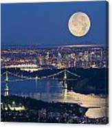 Full Moonrise Over Vancouver, British Canvas Print