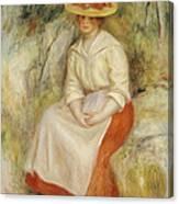 Gabrielle In A Straw Hat Canvas Print