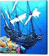 Galleon On The Cliff Filtered Canvas Print