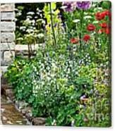 Garden Flowers With Stream Canvas Print