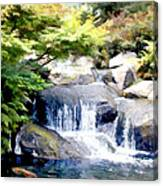 Garden Waterfall With Koi Pond Canvas Print