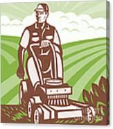 Gardener Landscaper Riding Lawn Mower Retro Canvas Print