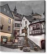Gasthaus And Church-colour Canvas Print